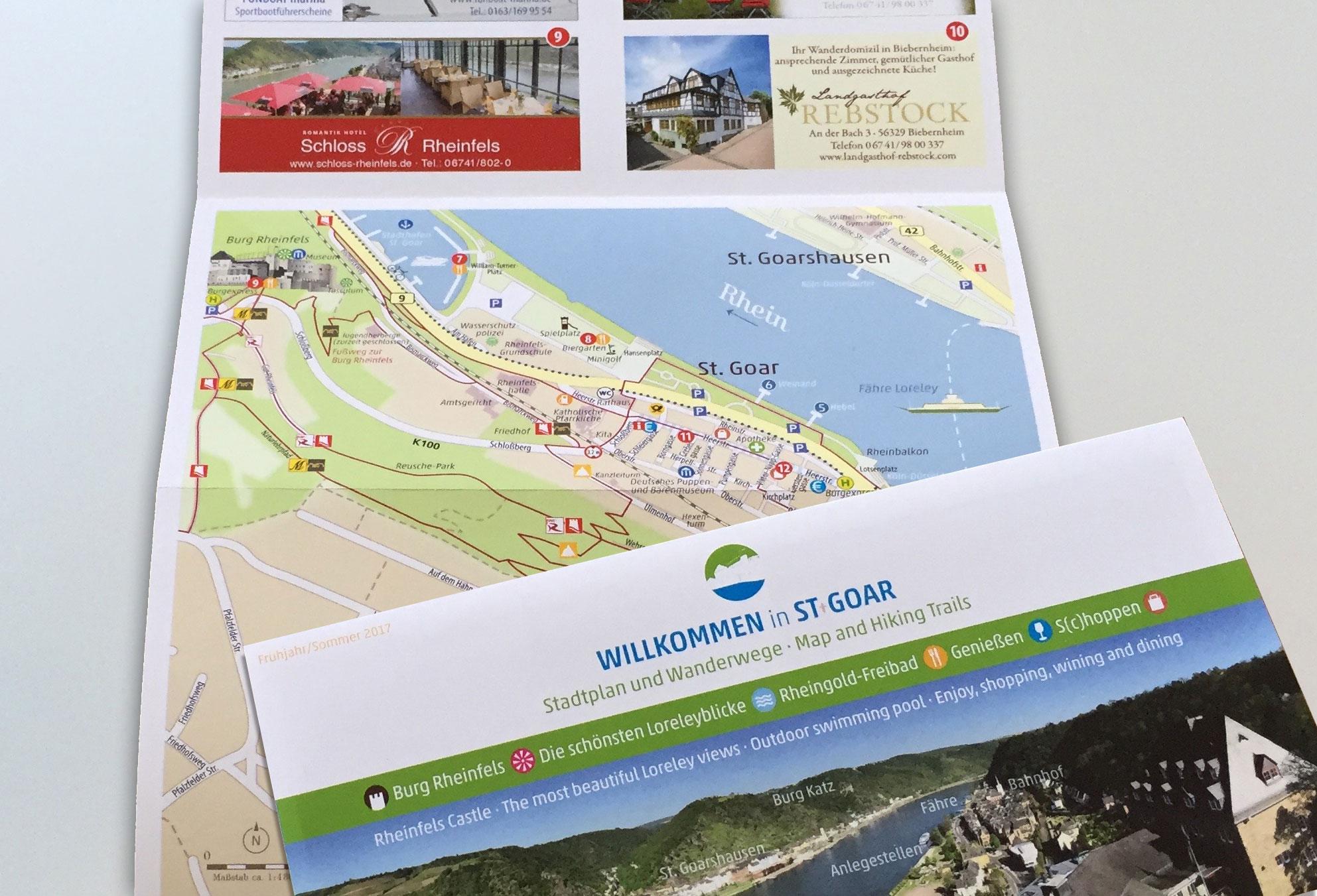Stadtplan und Wanderkarte St. Goar